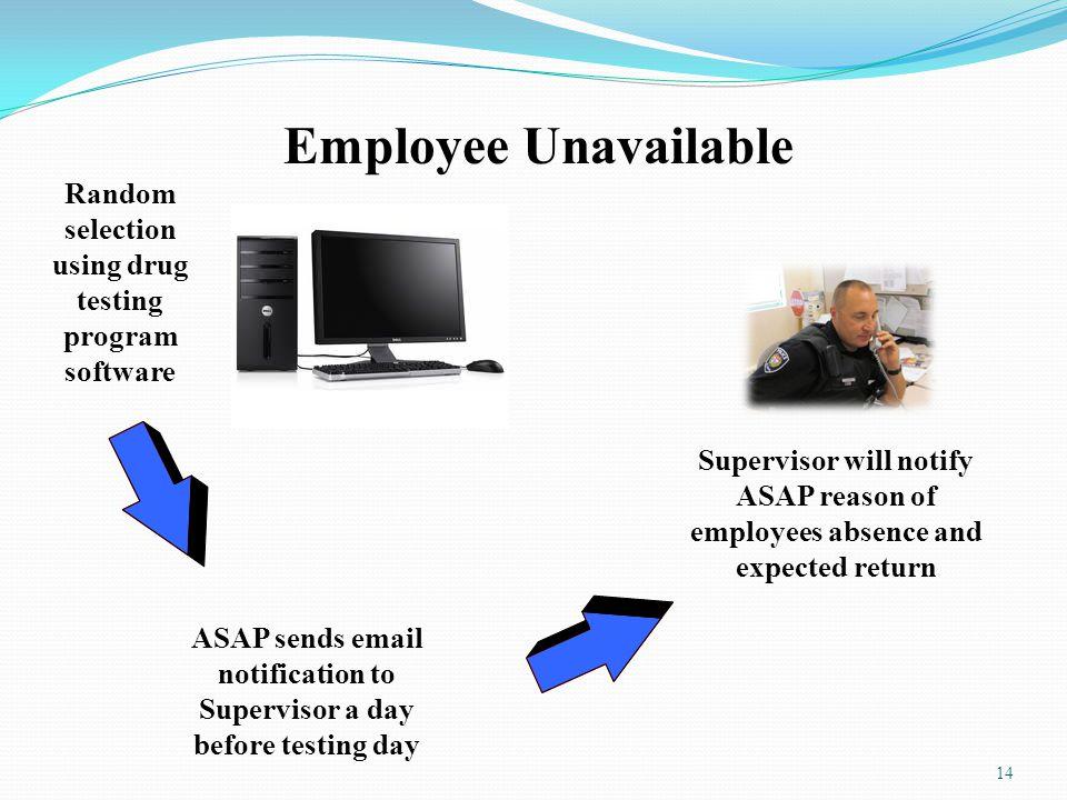 Employee Unavailable Random selection using drug testing program software.