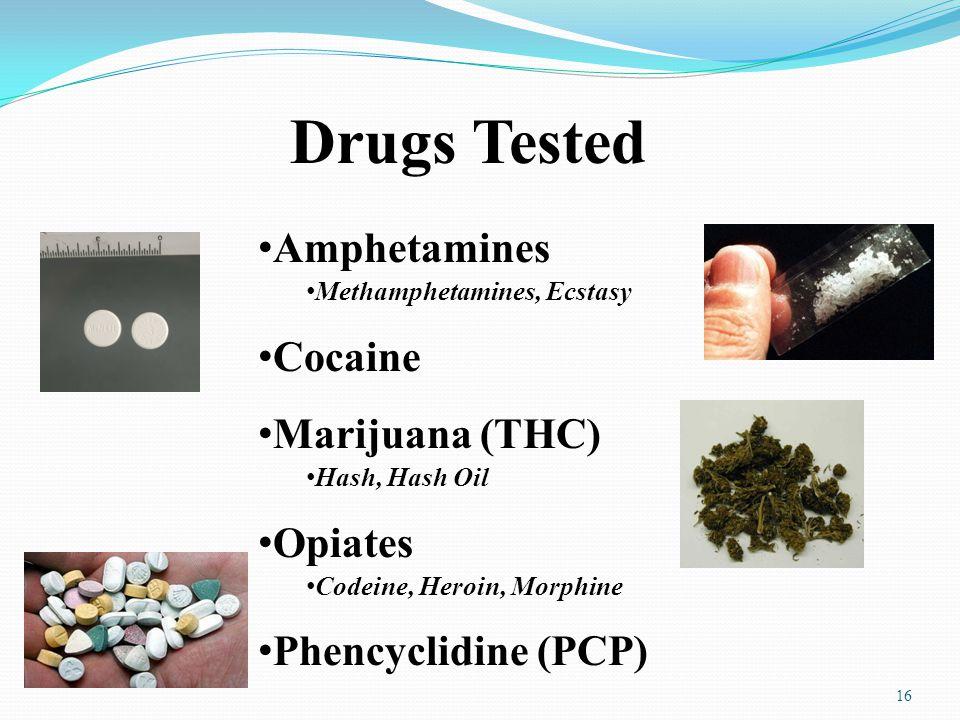 Drugs Tested Amphetamines Cocaine Marijuana (THC) Opiates