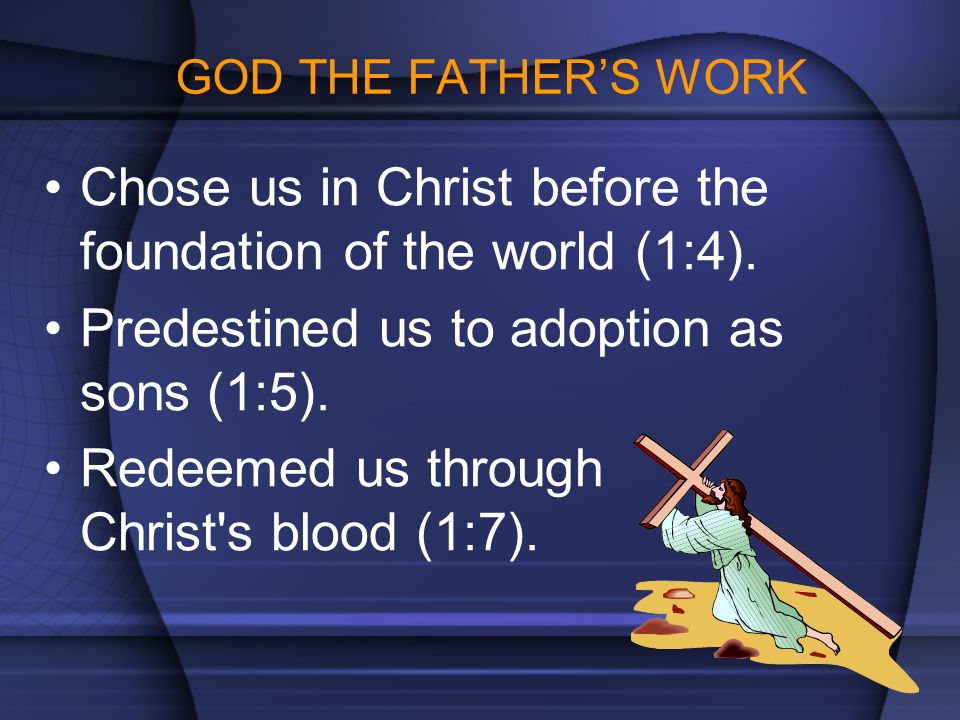 Chose us in Christ before the foundation of the world (1:4).