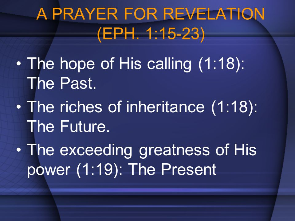 A PRAYER FOR REVELATION (EPH. 1:15-23)
