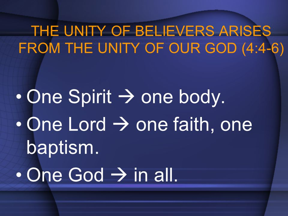 THE UNITY OF BELIEVERS ARISES FROM THE UNITY OF OUR GOD (4:4-6)