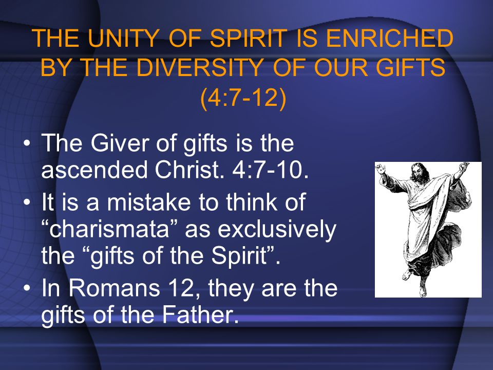 THE UNITY OF SPIRIT IS ENRICHED BY THE DIVERSITY OF OUR GIFTS (4:7-12)