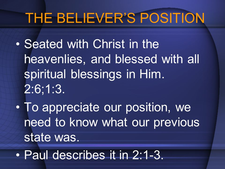 THE BELIEVER'S POSITION