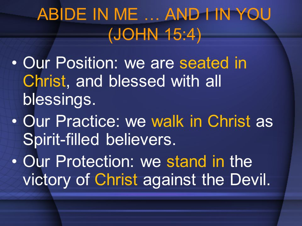 ABIDE IN ME … AND I IN YOU (JOHN 15:4)