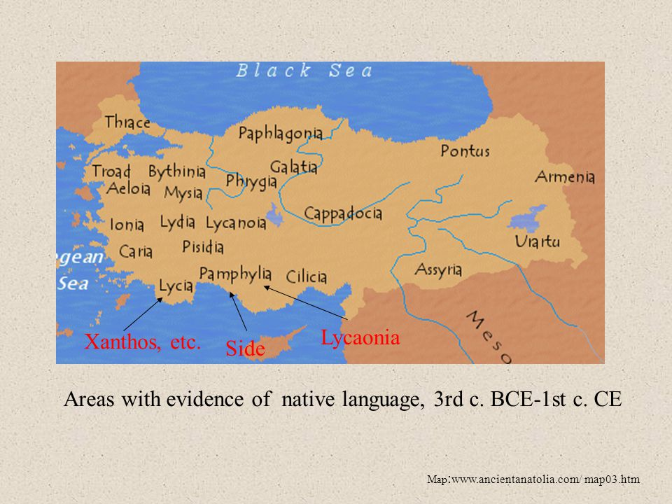 Areas with evidence of native language, 3rd c. BCE-1st c. CE