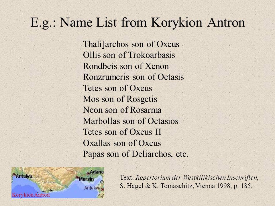 E.g.: Name List from Korykion Antron