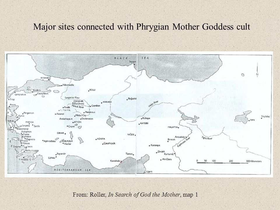 Major sites connected with Phrygian Mother Goddess cult