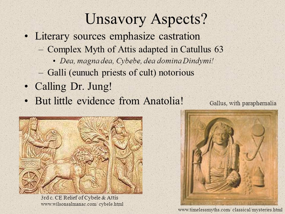 Unsavory Aspects Literary sources emphasize castration
