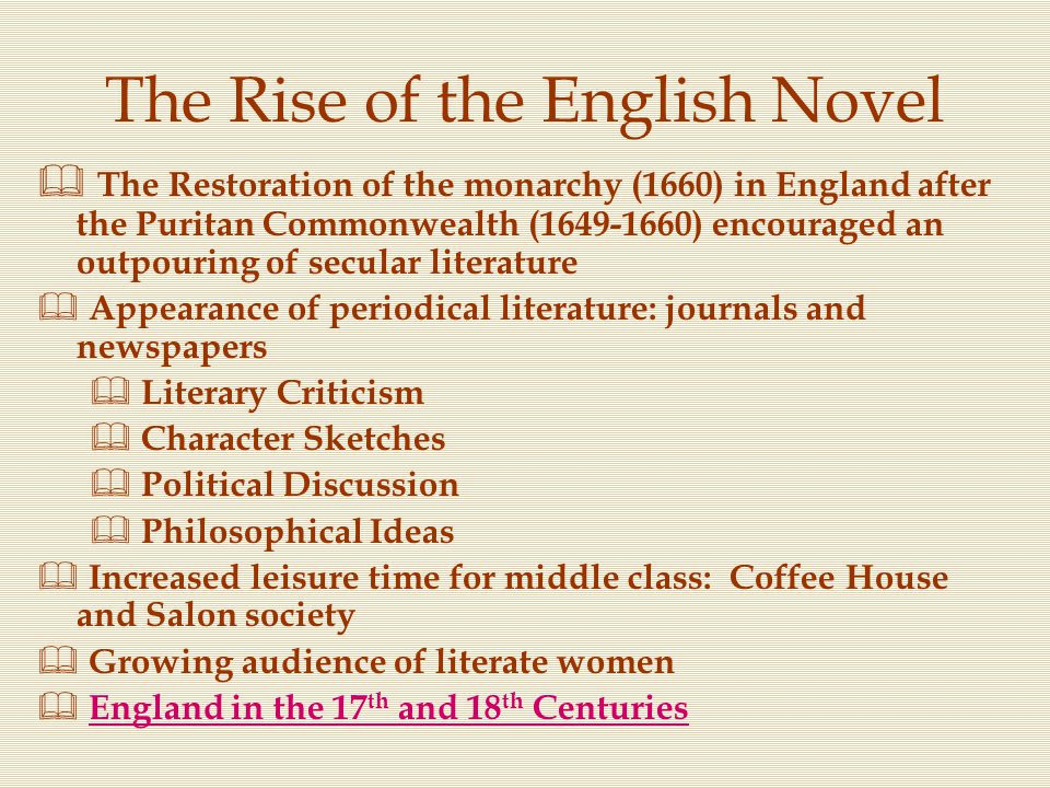 The Rise of the English Novel