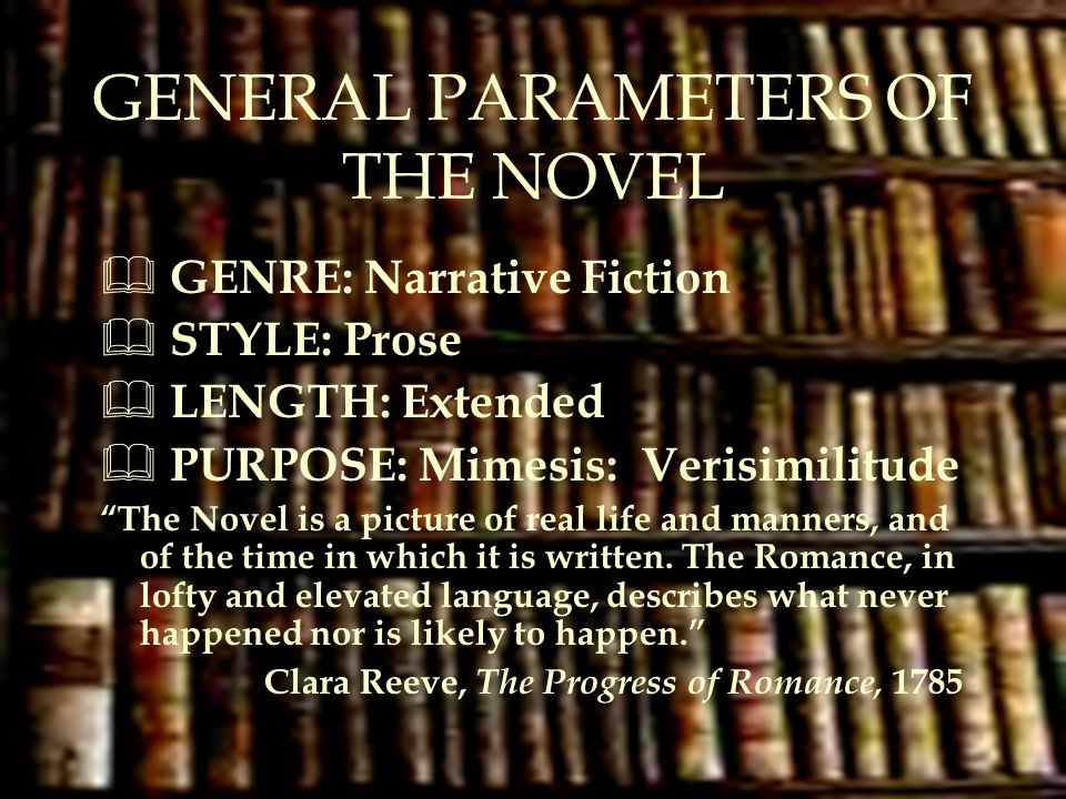 GENERAL PARAMETERS OF THE NOVEL