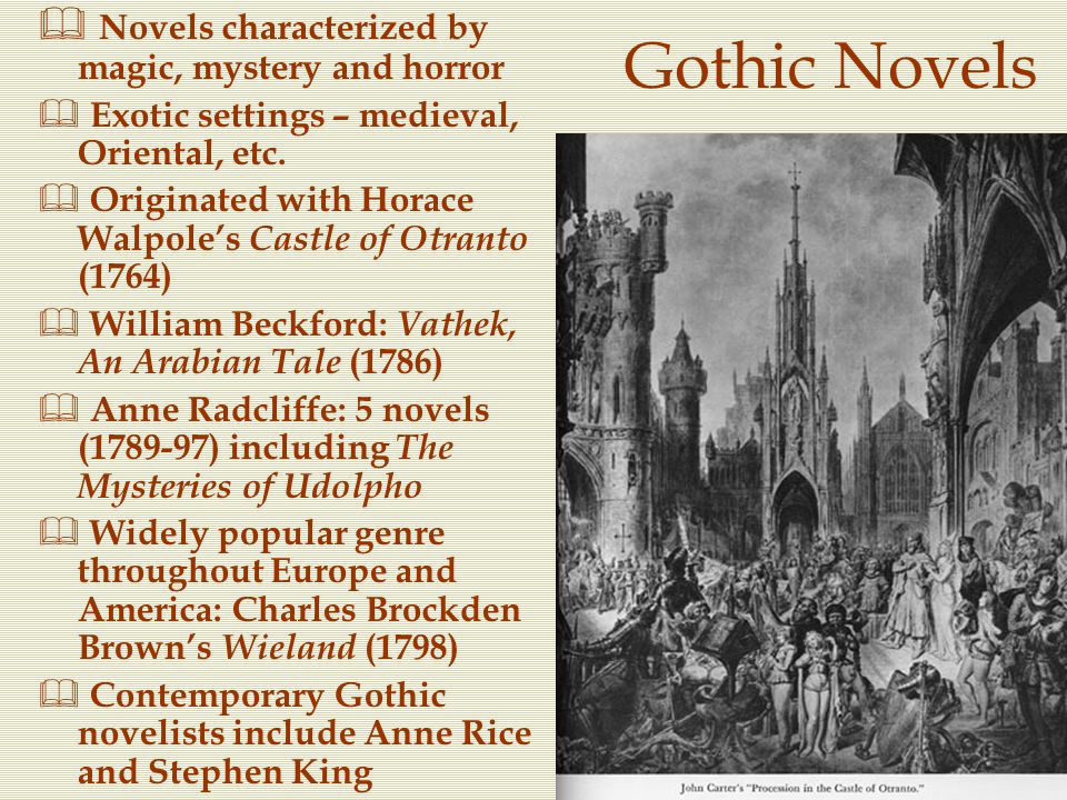 Gothic Novels Novels characterized by magic, mystery and horror