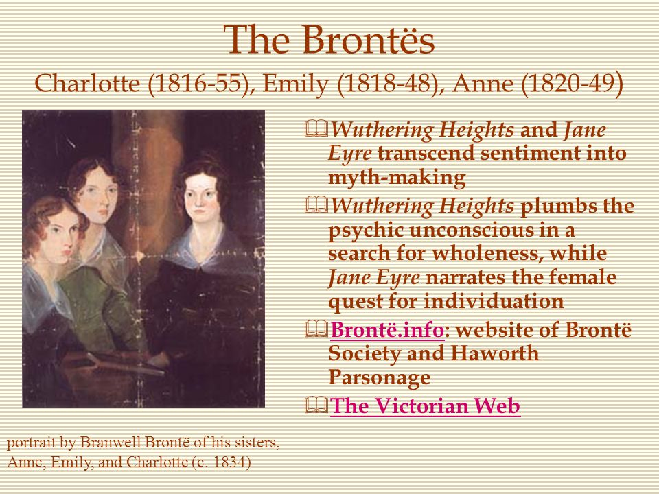 The Brontës Charlotte (1816-55), Emily (1818-48), Anne (1820-49)