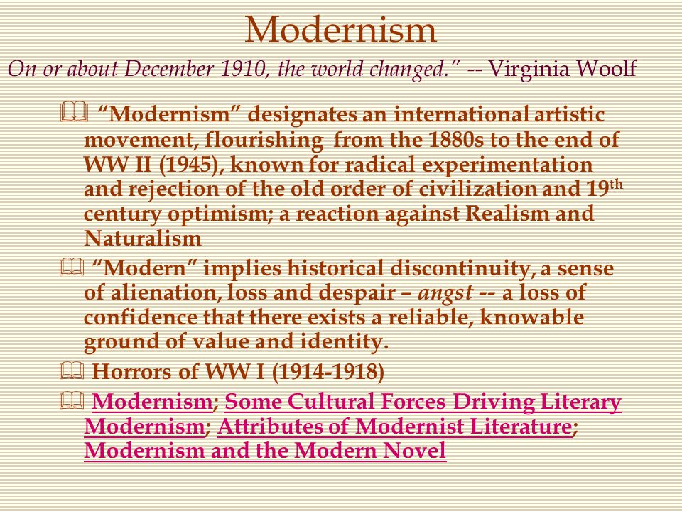 Modernism On or about December 1910, the world changed. -- Virginia Woolf.