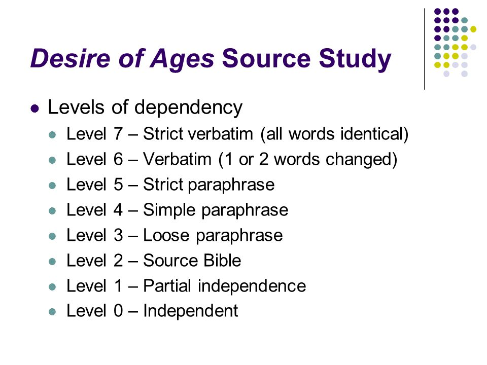 Desire of Ages Source Study