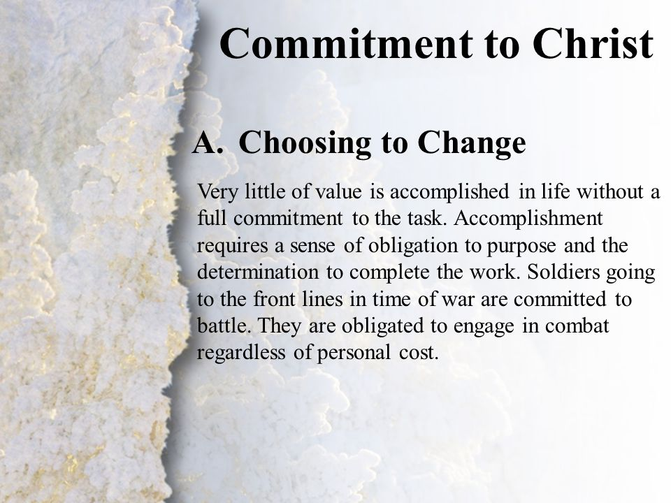 I. Commitment to Christ (A-B)