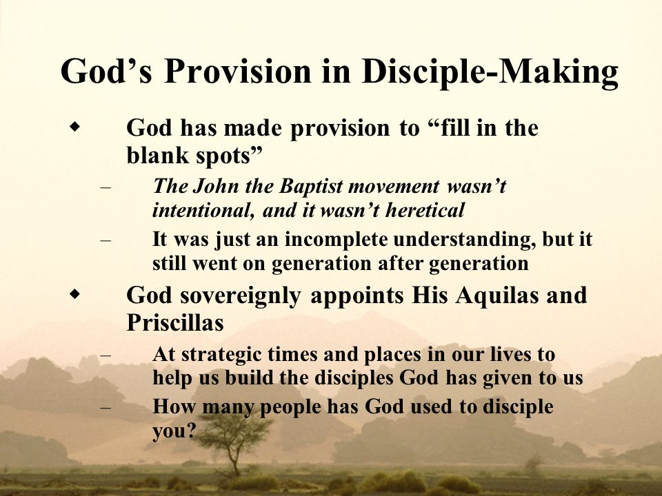 God's Provision in Disciple‑Making
