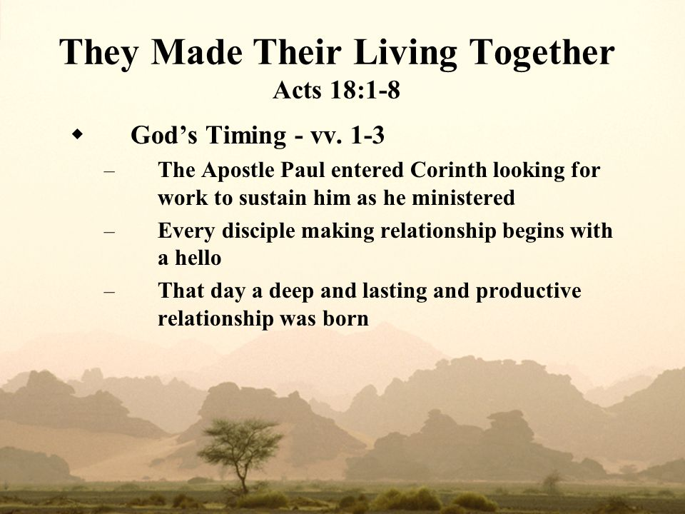 They Made Their Living Together Acts 18:1-8