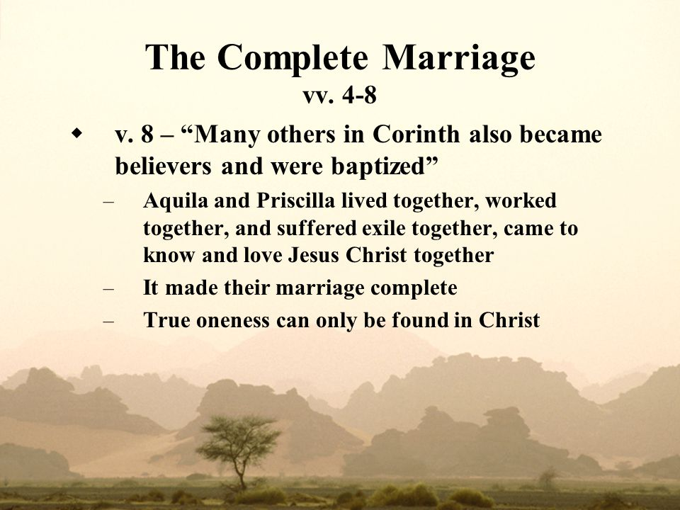 The Complete Marriage vv. 4-8