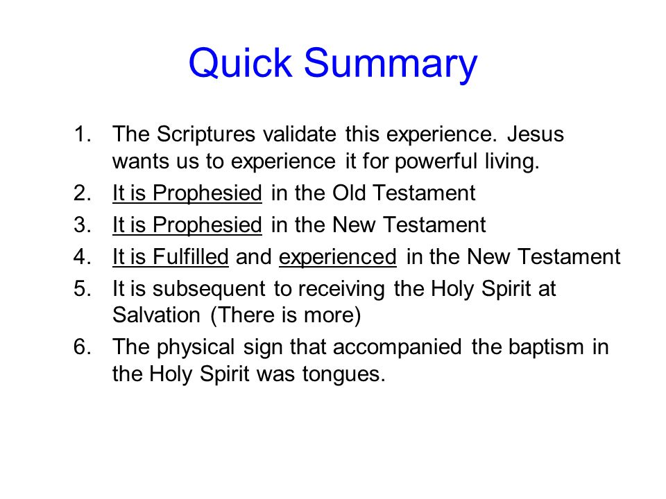 Quick Summary The Scriptures validate this experience. Jesus wants us to experience it for powerful living.