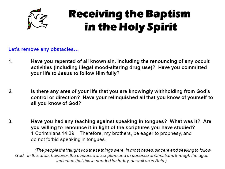 Receiving the Baptism in the Holy Spirit