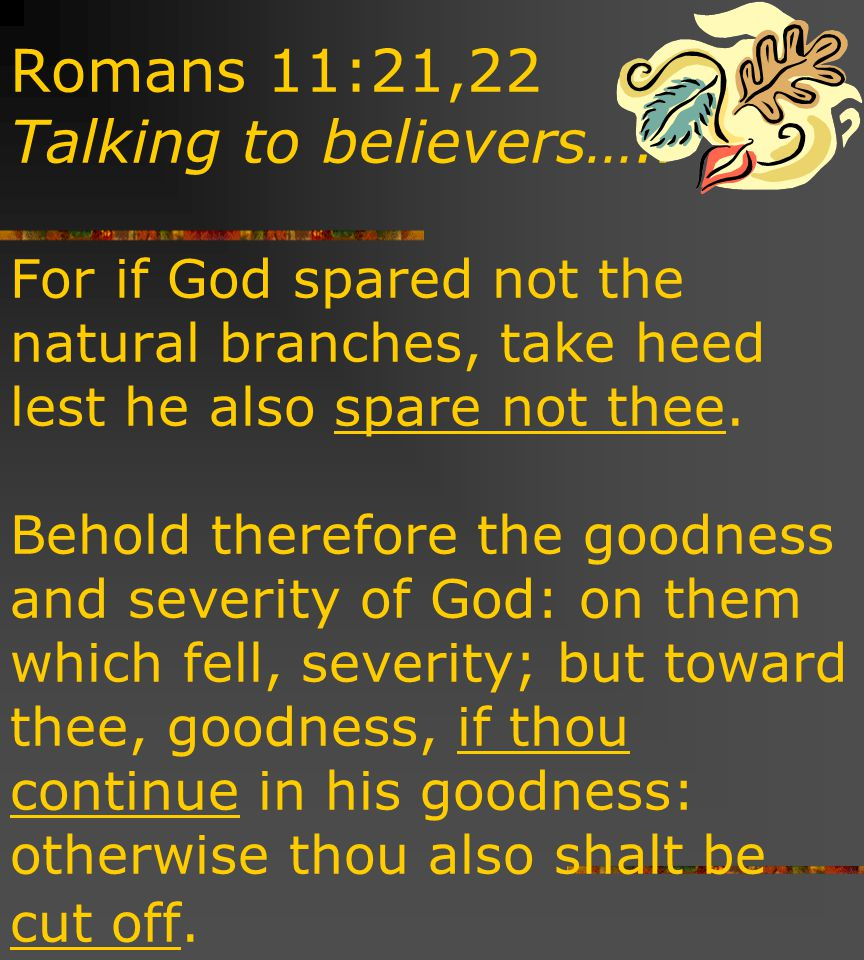 Romans 11:21,22 Talking to believers…