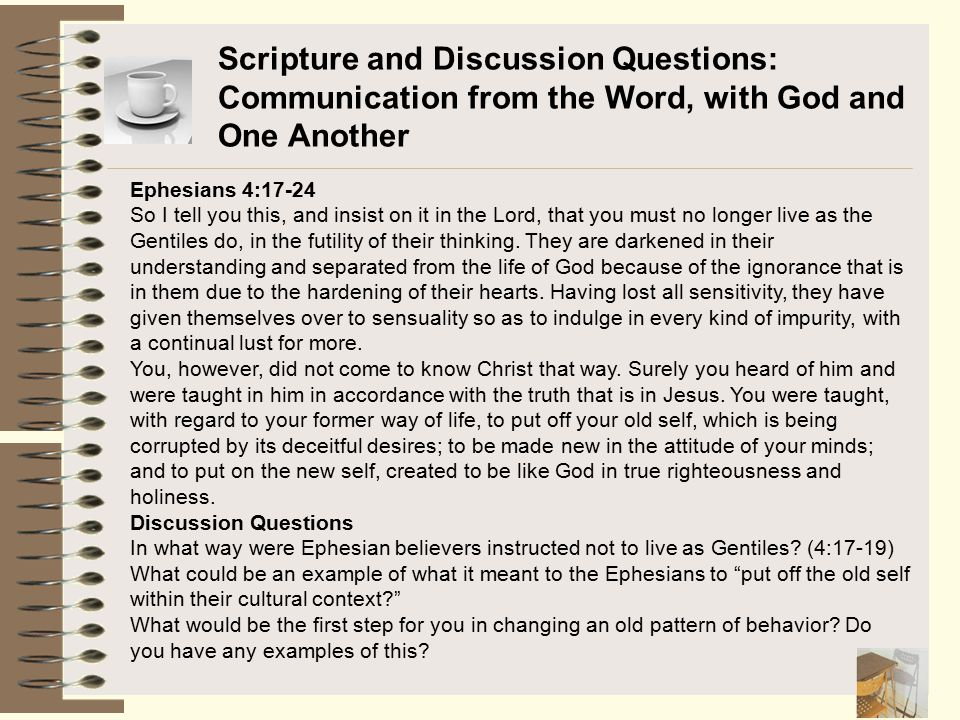 Scripture and Discussion Questions: Communication from the Word, with God and One Another