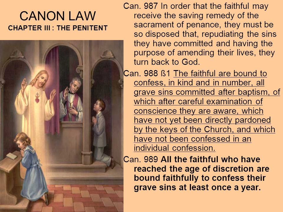 CANON LAW CHAPTER III : THE PENITENT