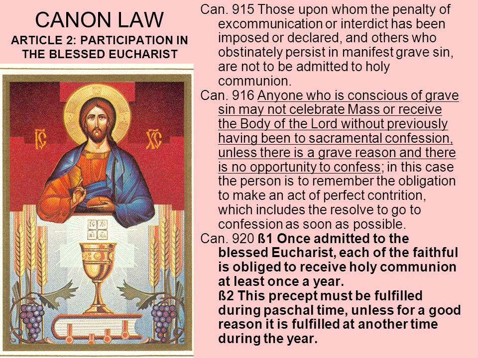 CANON LAW ARTICLE 2: PARTICIPATION IN THE BLESSED EUCHARIST