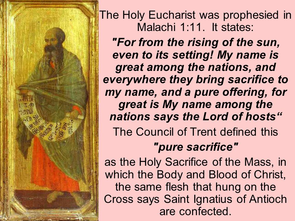 The Holy Eucharist was prophesied in Malachi 1:11