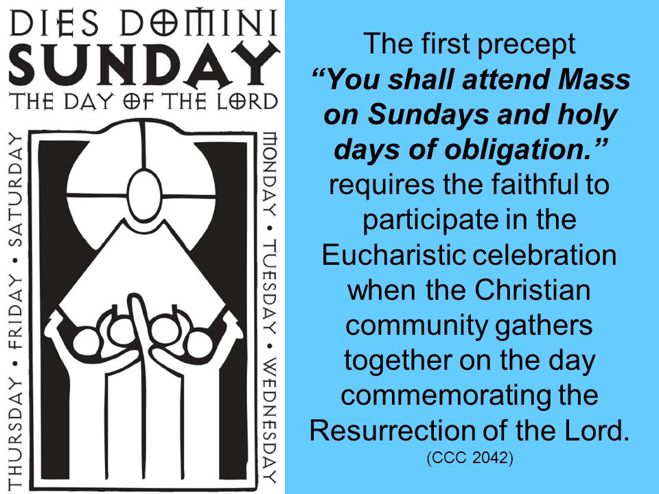 You shall attend Mass on Sundays and holy days of obligation.