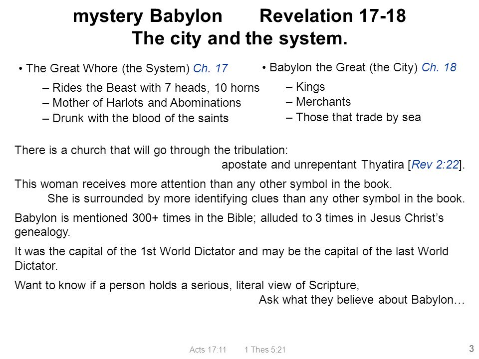 mystery Babylon Revelation 17-18 The city and the system.