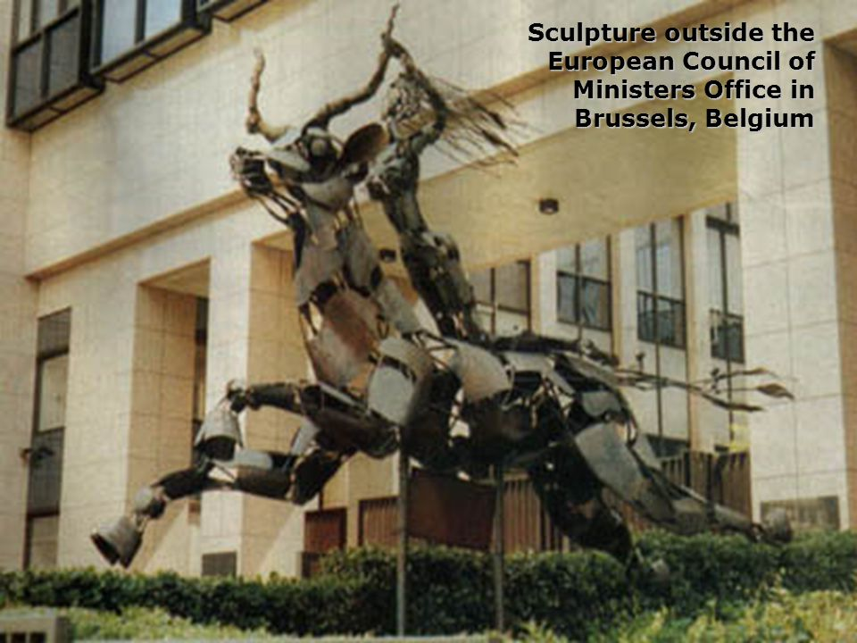 Sculpture outside the European Council of Ministers Office in Brussels, Belgium
