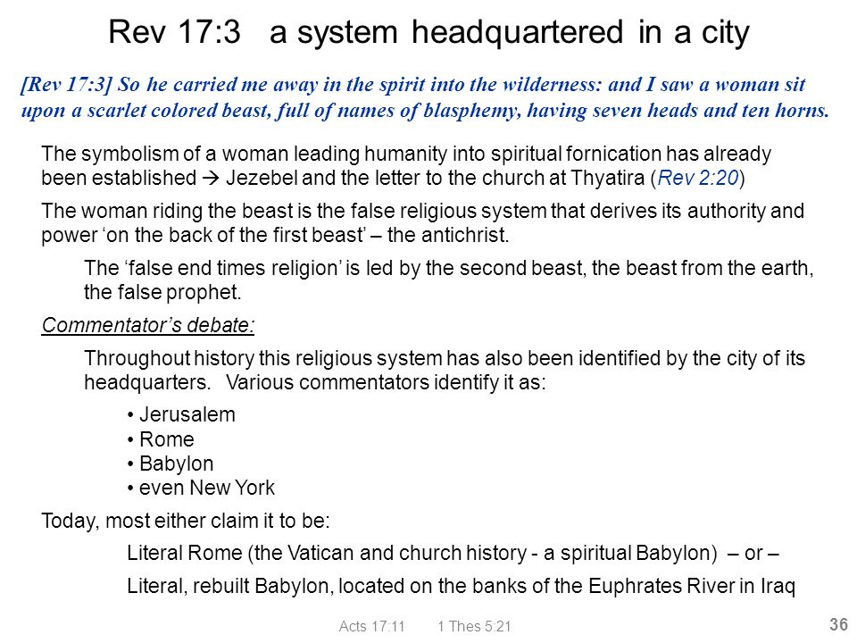Rev 17:3 a system headquartered in a city