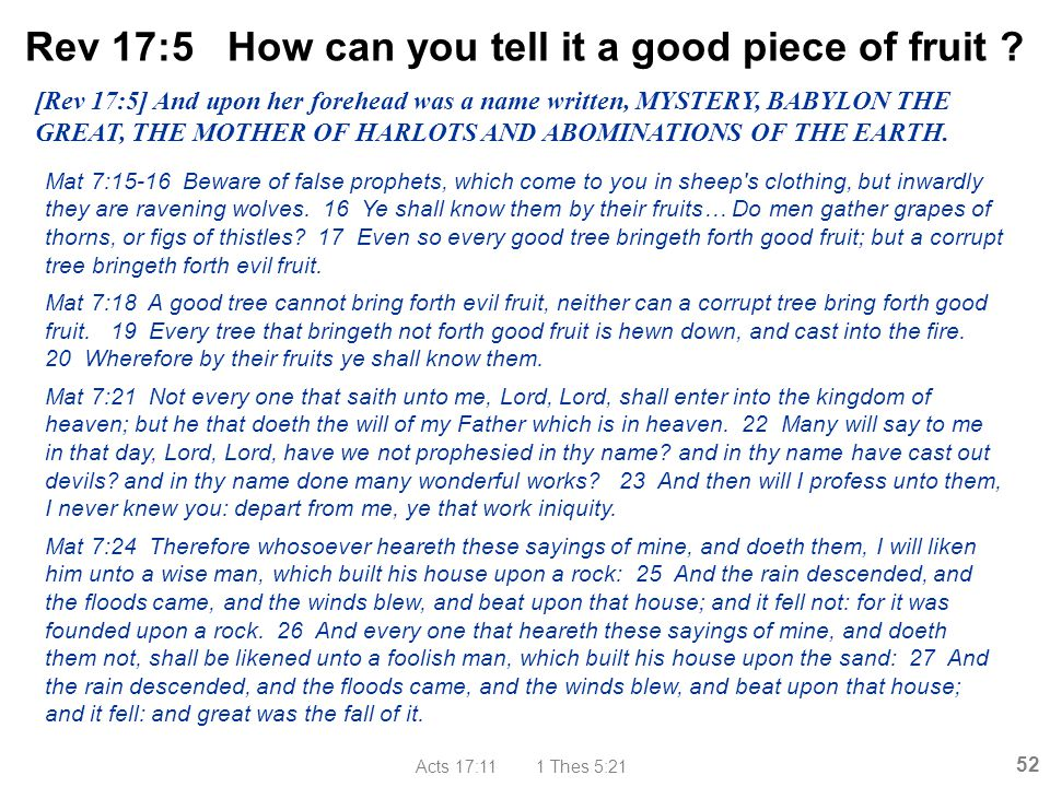 Rev 17:5 How can you tell it a good piece of fruit