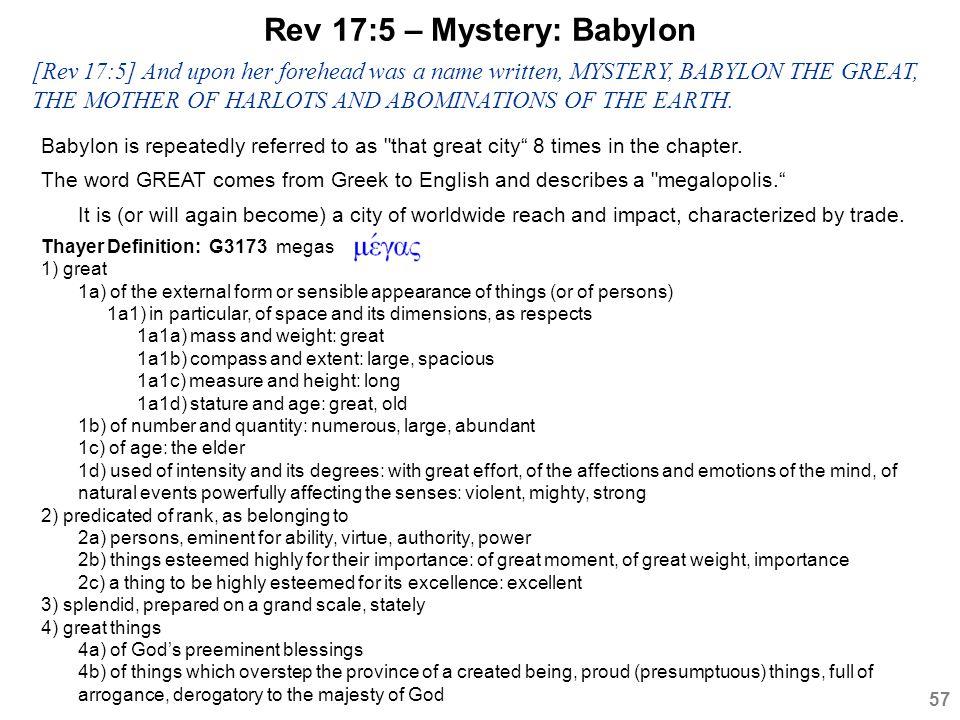 Rev 17:5 – Mystery: Babylon