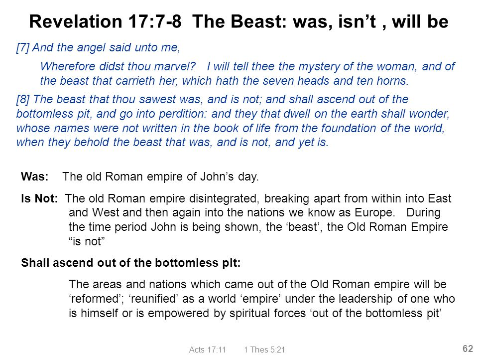 Revelation 17:7-8 The Beast: was, isn't , will be