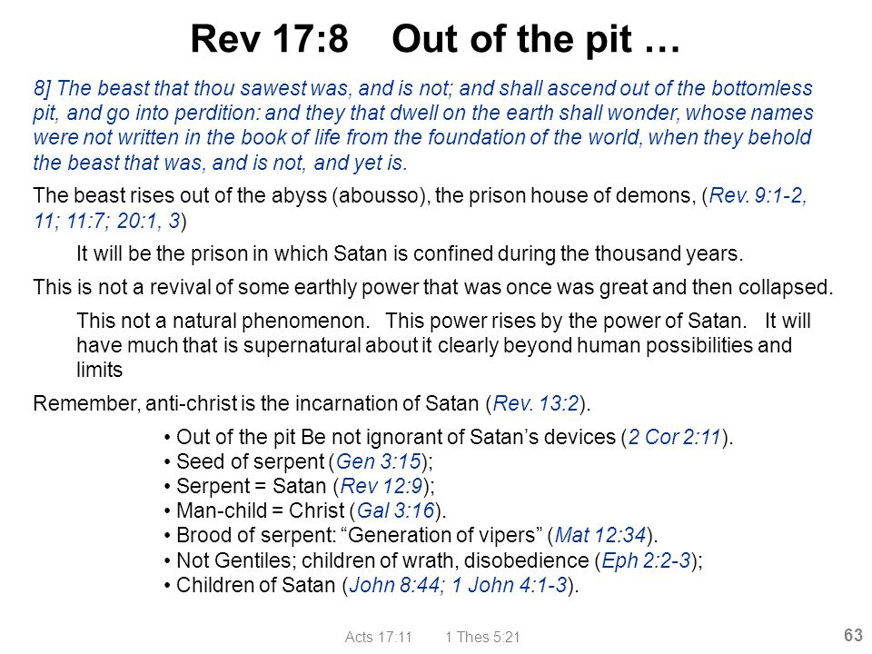 Rev 17:8 Out of the pit …
