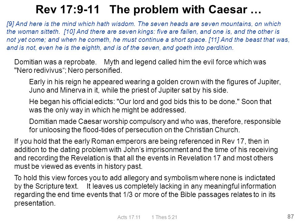 Rev 17:9-11 The problem with Caesar …