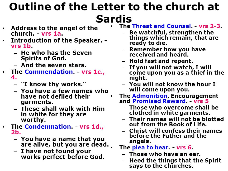 Outline of the Letter to the church at Sardis