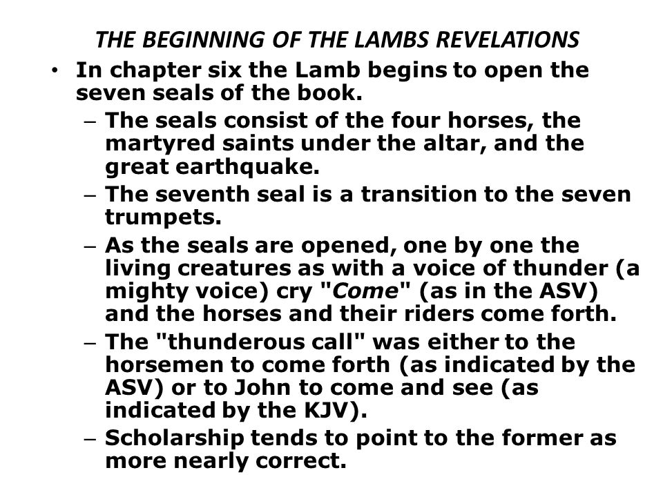 THE BEGINNING OF THE LAMBS REVELATIONS