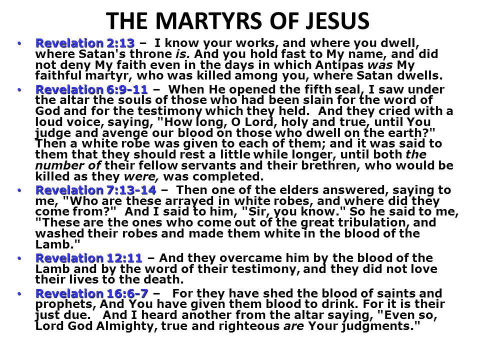 THE MARTYRS OF JESUS
