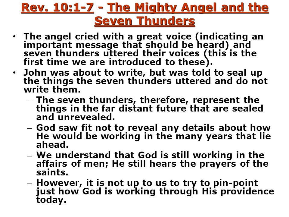 Rev. 10:1-7 - The Mighty Angel and the Seven Thunders