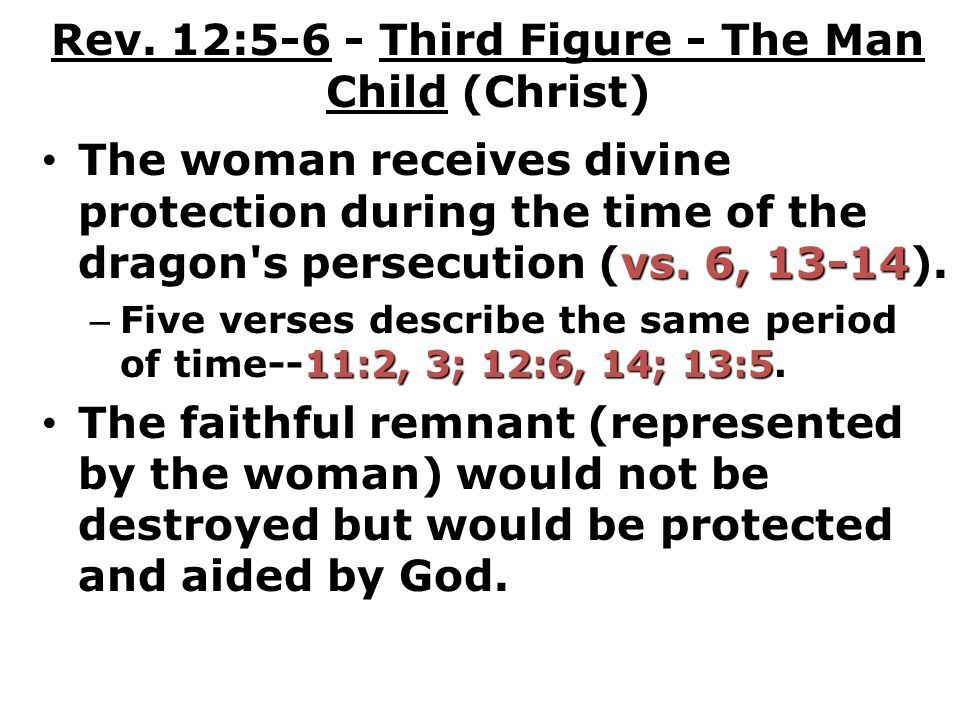 Rev. 12:5-6 - Third Figure - The Man Child (Christ)