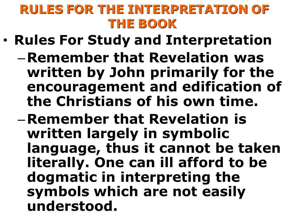 RULES FOR THE INTERPRETATION OF THE BOOK