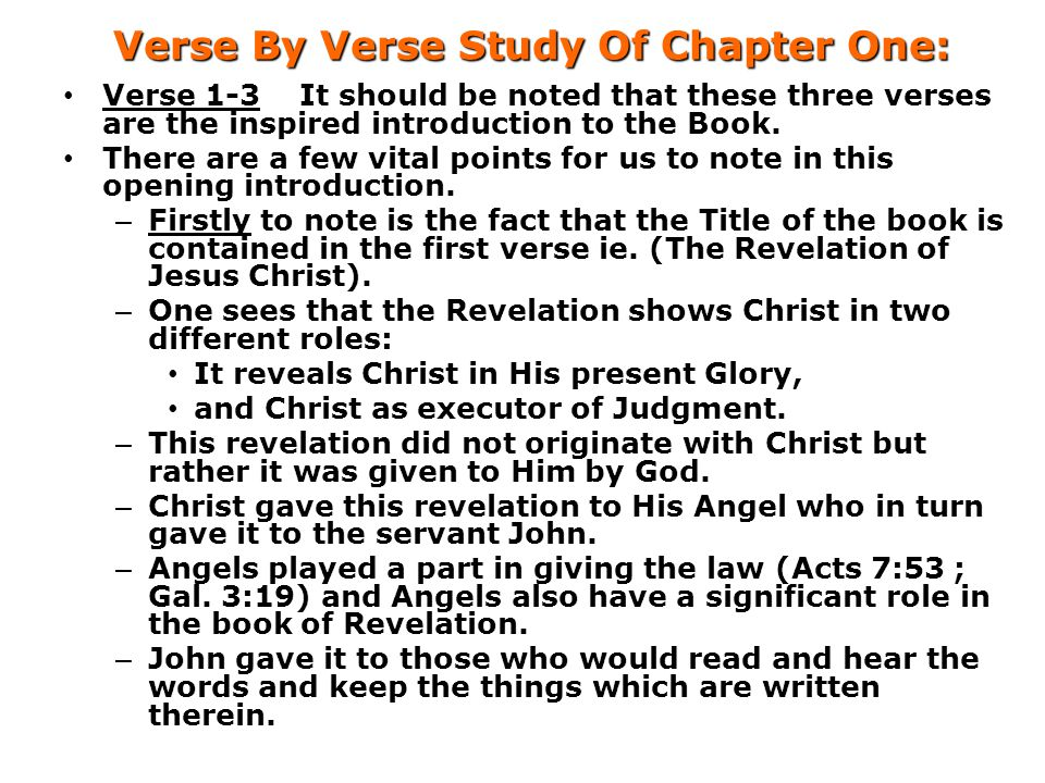 Verse By Verse Study Of Chapter One: