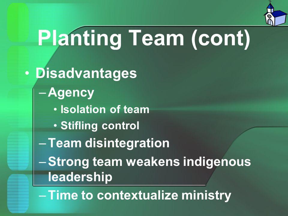 Planting Team (cont) Disadvantages Agency Team disintegration