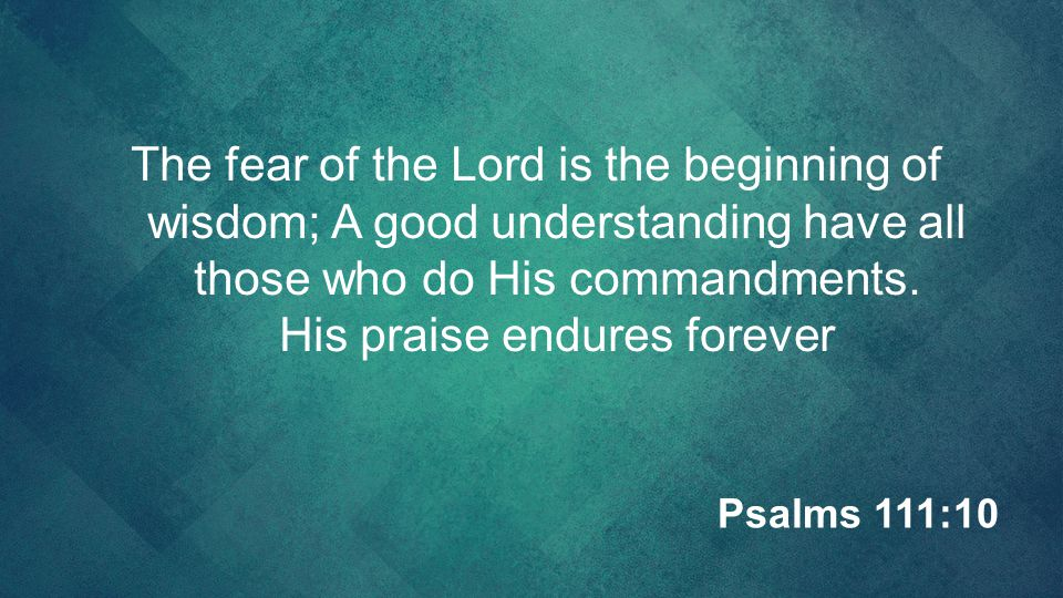 The fear of the Lord is the beginning of wisdom; A good understanding have all those who do His commandments. His praise endures forever