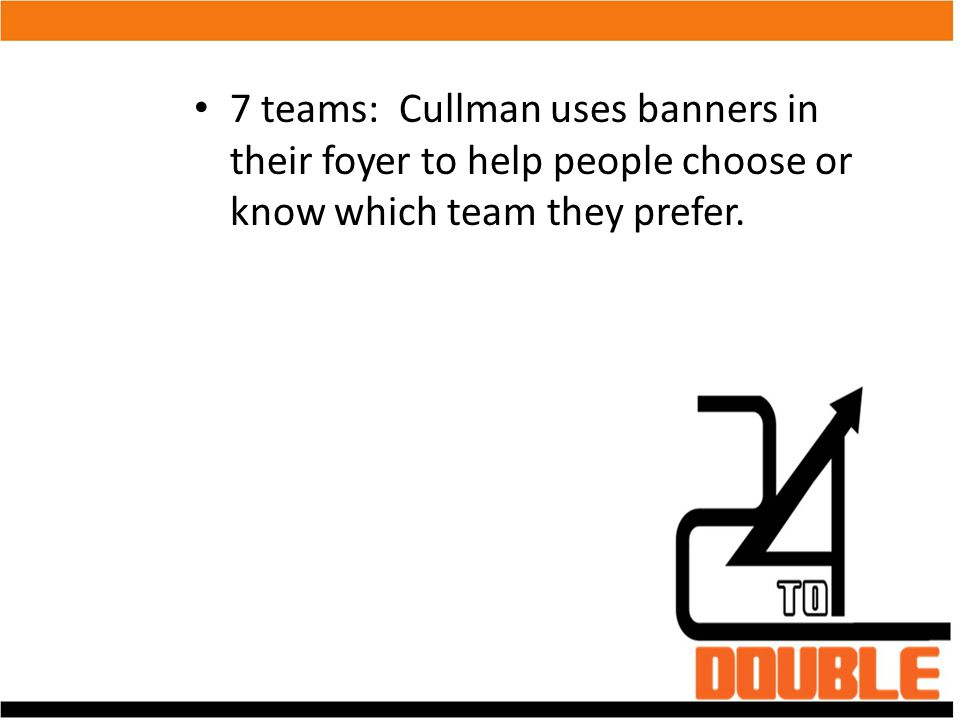 7 teams: Cullman uses banners in their foyer to help people choose or know which team they prefer.