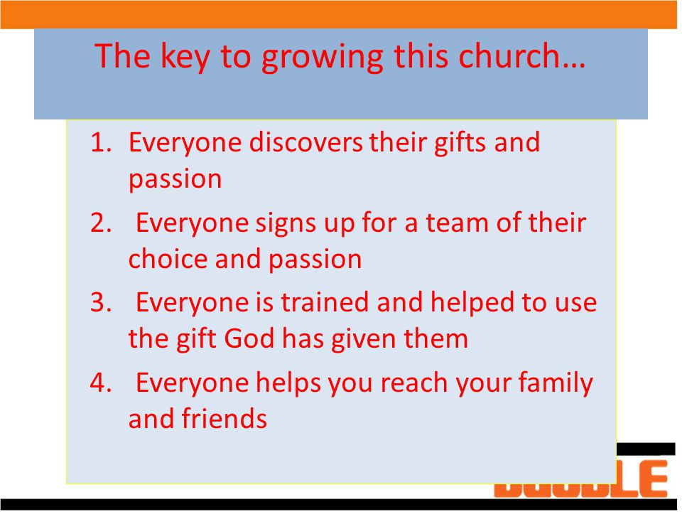 The key to growing this church…
