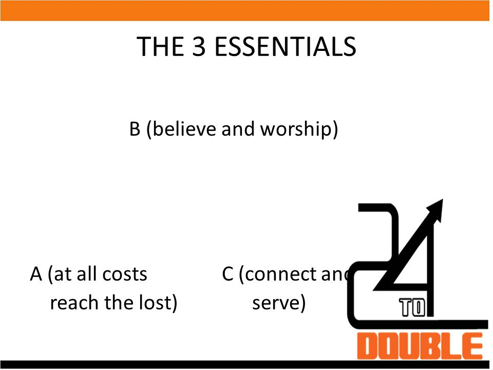 THE 3 ESSENTIALS B (believe and worship) A (at all costs C (connect and reach the lost) serve)